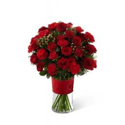 Arreglo con Rosas y Claveles todo en rojo