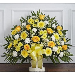 Arreglo funebre en florero
