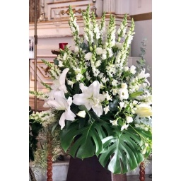 Arreglo para decoración de iglesias con flores blancas