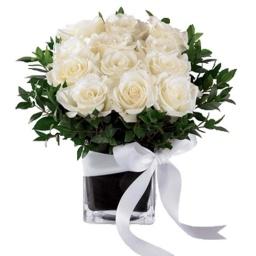 Base de vidrio con 12 rosas blancas