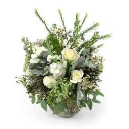 Burbuja con flores variadas blancas