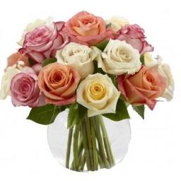 Burbuja con rosas colores pasteles
