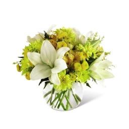 Burbuja de vidrio en flores amarillas y blancas