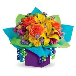 Caja con flores variadas