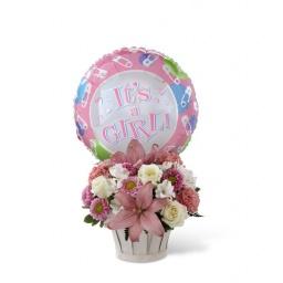 Canasta primaveral con globo para niña