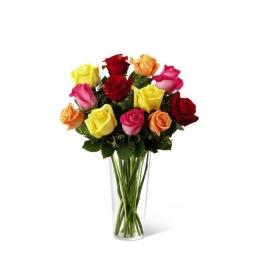 Florero con 12 Rosas de Colores