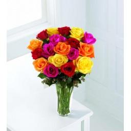 Florero con 18 rosas de colores variados