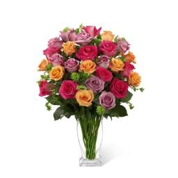 Florero con 30 rosas de distintos colores