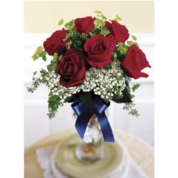 Florero con 6 Rosas Rojas