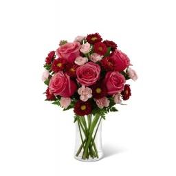 Florero con rosas y felpillas