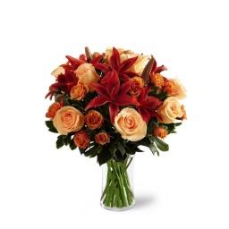 Florero grande con rosas y liliums