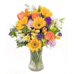 Florero variado en tonos claros