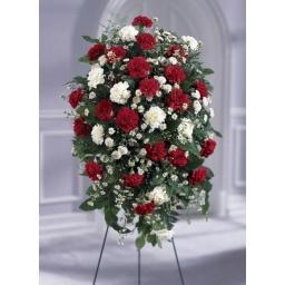 Palma de pie de flores naturales rojas y blancas