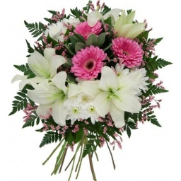 Ramo con flores en tonos rosado y blanco