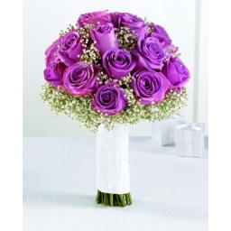 Ramo de novia con rosas lilas