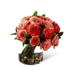 Ramo de novia redondo en rosas naranjas