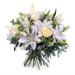 Ramo de rosas y liliums blanco