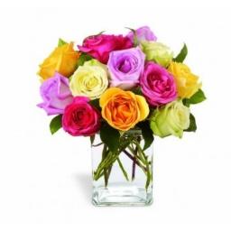 Rosas variadas en base de vidrio