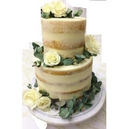 Torta Blanca con rosas.