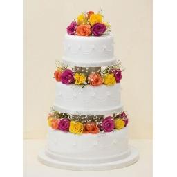 Torta con rosas multicolor